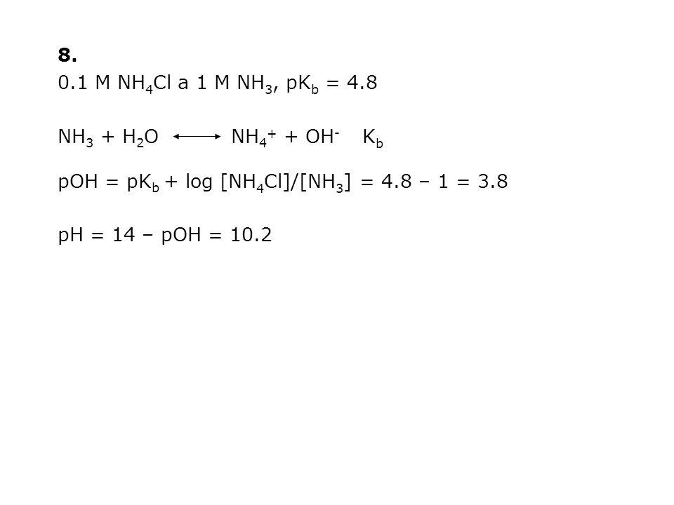 8. 0.1 M NH4Cl a 1 M NH3, pKb = 4.8. NH3 + H2O NH4+ + OH- Kb. pOH = pKb + log [NH4Cl]/[NH3] = 4.8 – 1 = 3.8.